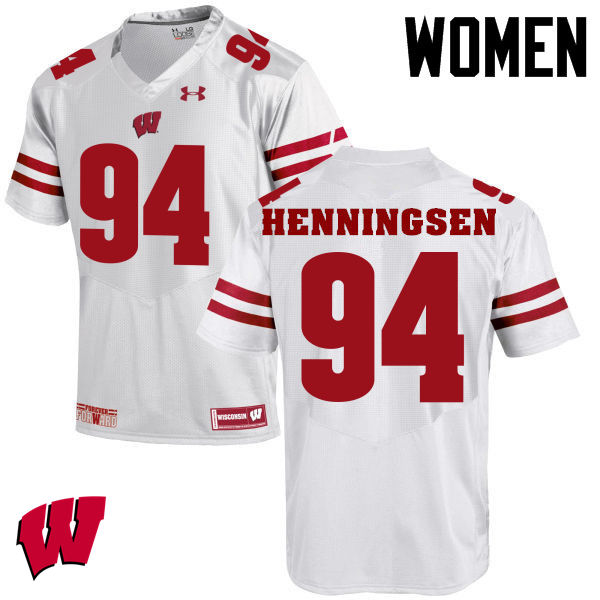Women Winsconsin Badgers #94 Matt Henningsen College Football Jerseys-White